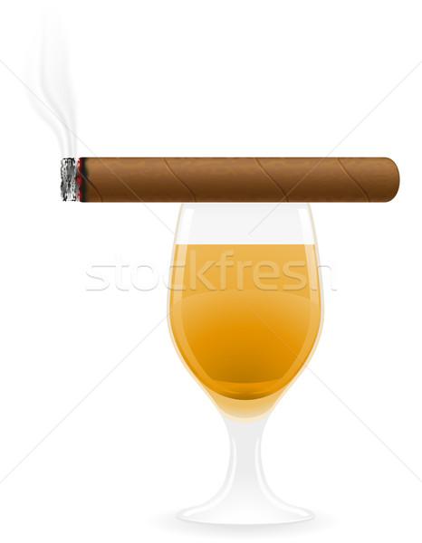 cigar and alcoholic drinks vector illustration Stock photo © konturvid
