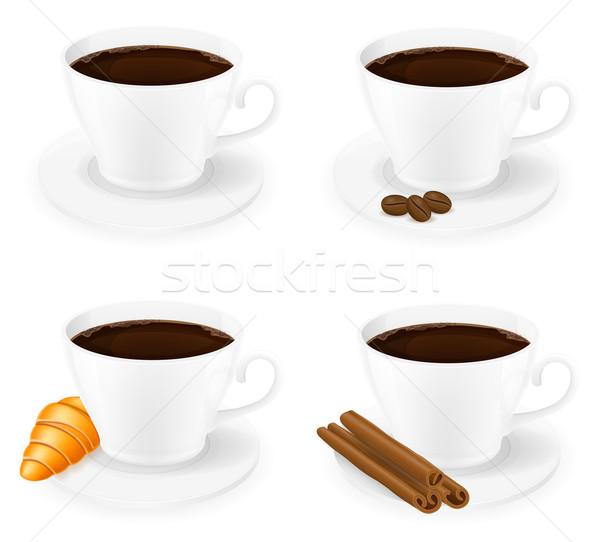 Foto stock: Copo · café · canela · grão · feijões · vista · lateral