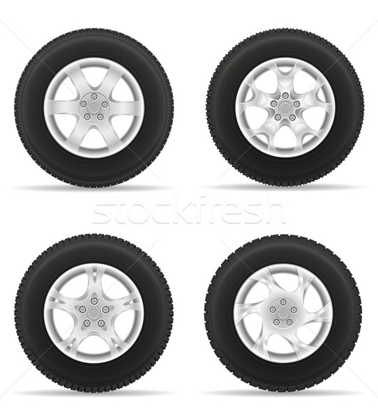 set icons car wheel tire from the disk vector illustration Stock photo © konturvid