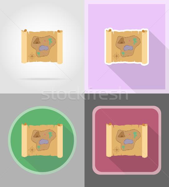 pirate treasure map flat icons vector illustration Stock photo © konturvid