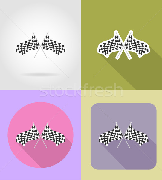 checkered flags for car racing flat icons vector illustration Stock photo © konturvid