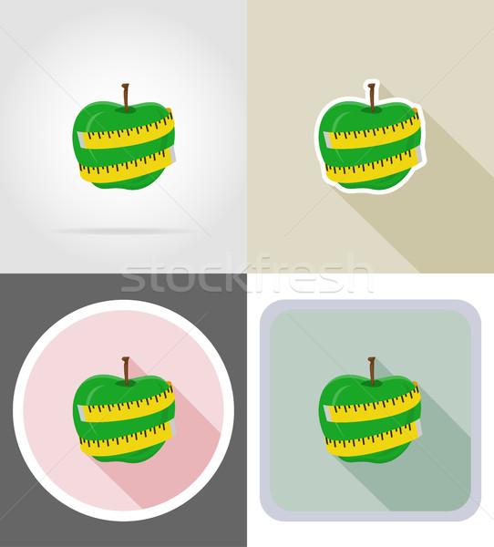 Foto stock: Manzana · cinta · métrica · iconos · aislado · alimentos · naturaleza
