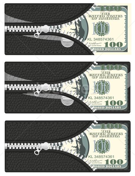 Egy száz dollár pénztárca nyitva cipzár Stock fotó © konturvid