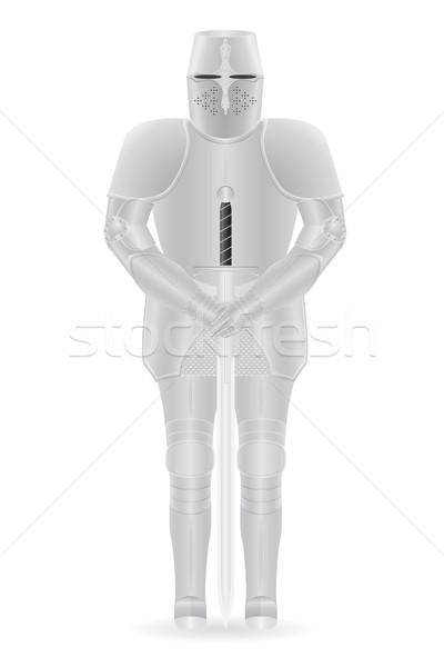 Ridder pantser zwaard geïsoleerd lichaam achtergrond Stockfoto © konturvid