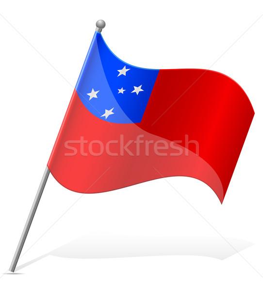 Bandeira Samoa isolado branco globo mundo Foto stock © konturvid