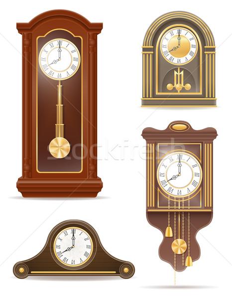 Foto stock: Reloj · edad · retro · establecer · icono · stock