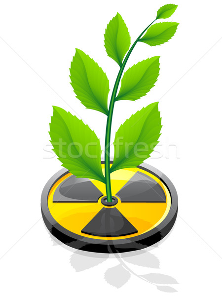 Stock photo: green plant growing from a sign radiation vector illustration