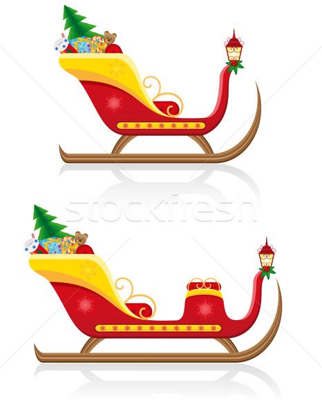 商业照片: 圣诞节 · 雪橇 · 圣诞老人 · 礼品 · 孤立 ·白