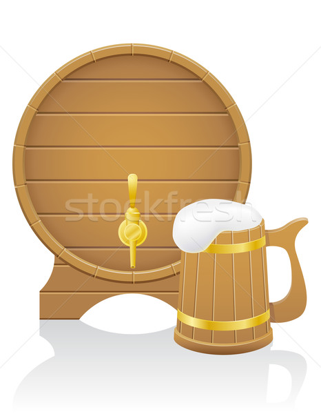 wooden beer barrel and mug vector illustration Stock photo © konturvid