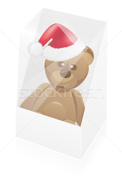 new year packing box with toy bear vector illustration Stock photo © konturvid