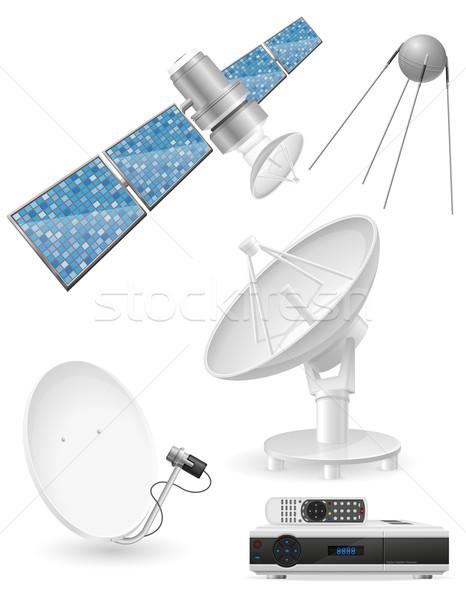 Set Symbole Satelliten Sendung isoliert weiß Stock foto © konturvid