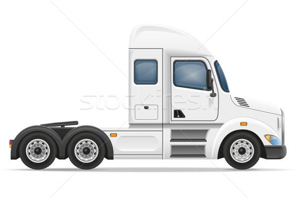 semi truck trailer vector illustration Stock photo © konturvid