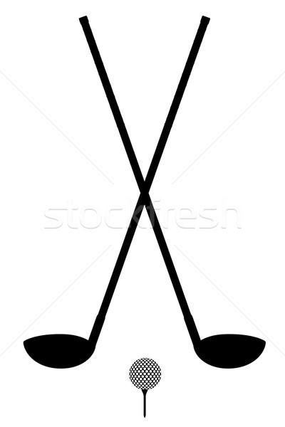 Golf klub labda sziluett skicc izolált Stock fotó © konturvid
