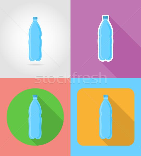 минеральная вода пластиковых бутылку быстрого питания иконки тень Сток-фото © konturvid