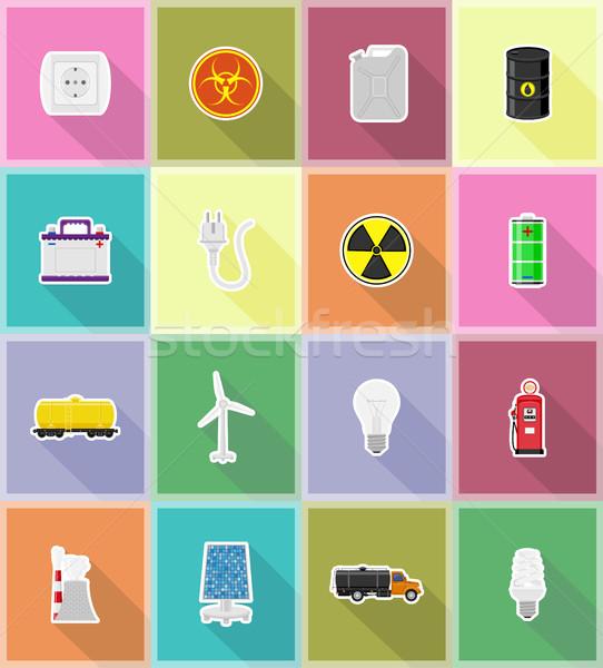 power and energy flat icons flat icons vector illustration Stock photo © konturvid