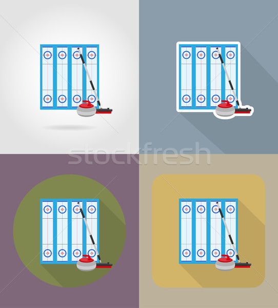playground for curling sport game flat icons vector illustration Stock photo © konturvid