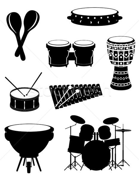 Hangszerek szett ikonok stock vektor fekete Stock fotó © konturvid
