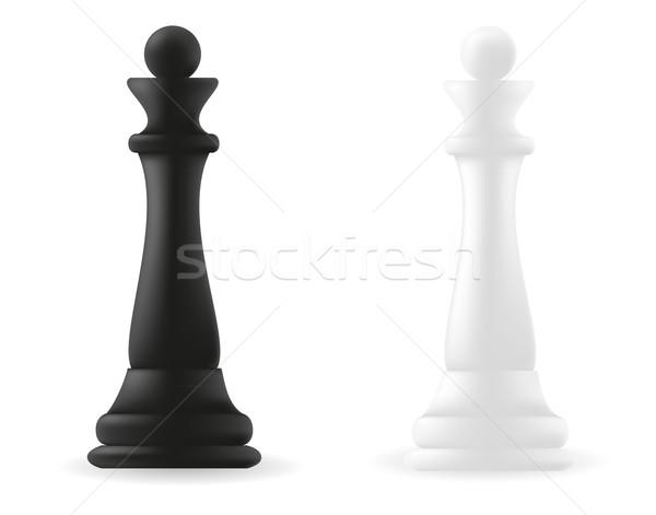 queen chess piece black and white Stock photo © konturvid