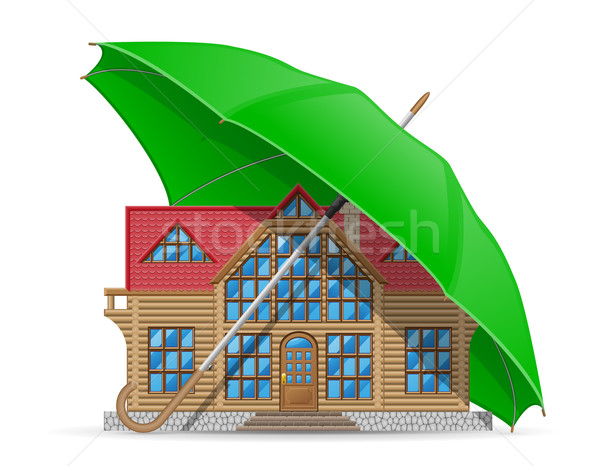 concept of protected and insured house accommodation umbrella ve Stock photo © konturvid