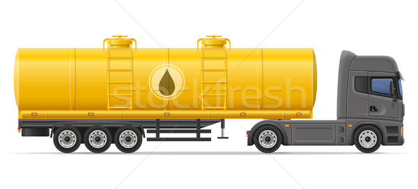 truck semi trailer with tank for transporting liquids vector ill Stock photo © konturvid
