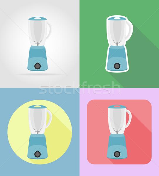 Mixer huishouden keuken iconen vector Stockfoto © konturvid