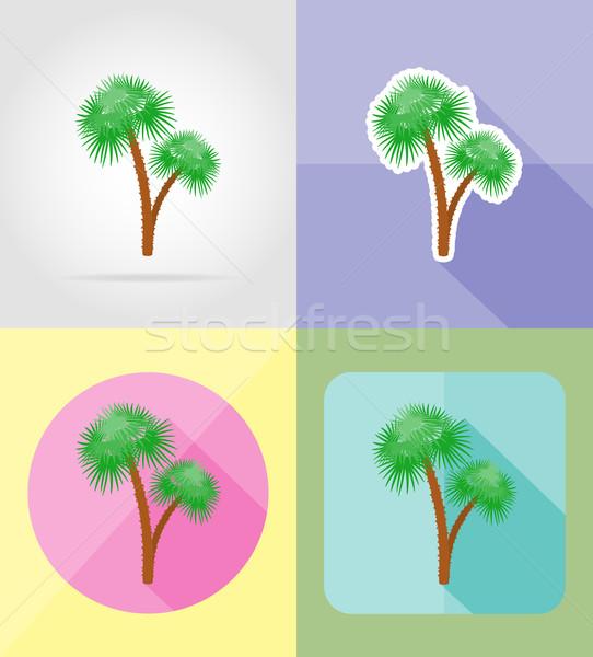palm tropical tree flat icons vector illustration Stock photo © konturvid