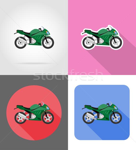 Motorkerékpár ikonok izolált út sport fény Stock fotó © konturvid