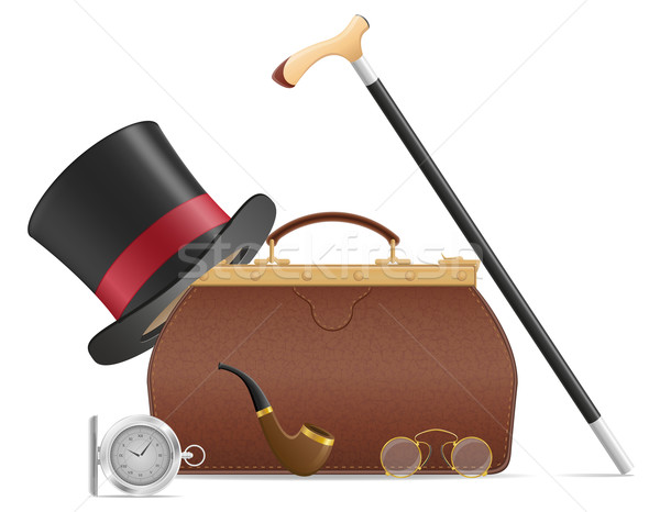 old valise and retro mens accessories vector illustration Stock photo © konturvid