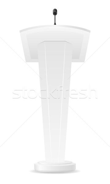 Fehér mikrofon hangszóró színpad torony interjú Stock fotó © konturvid