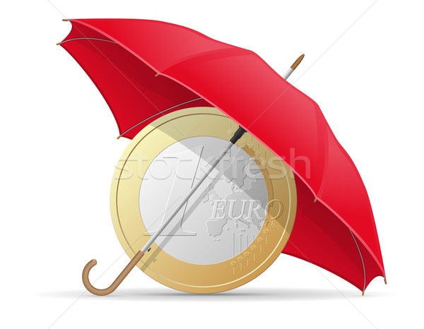 concept of protected and insured euro coins umbrella vector illu Stock photo © konturvid