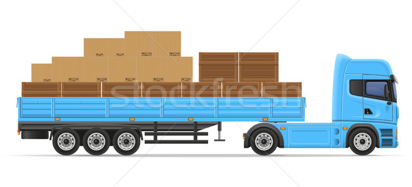 truck semi trailer for transportation of goods concept vector il Stock photo © konturvid