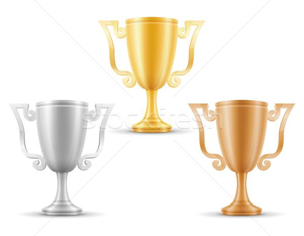 cup winner gold silver bronze stock vector illustration Stock photo © konturvid