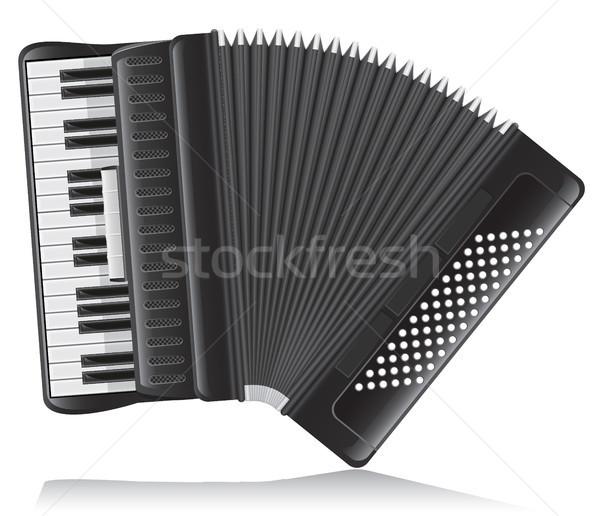 аккордеон изолированный белый фон искусства стиль Сток-фото © konturvid