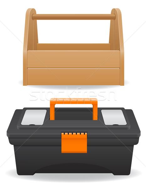 Holz Kunststoff Werkzeugkasten isoliert weiß Hintergrund Stock foto © konturvid