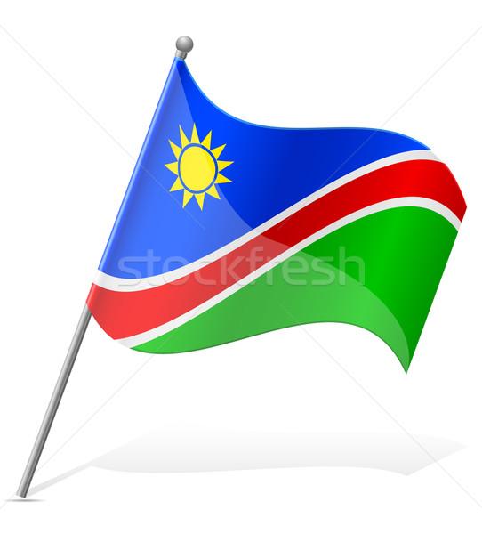 Zászló Namíbia izolált fehér földgömb világ Stock fotó © konturvid