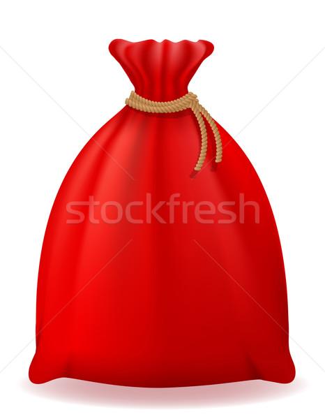 red christmas bag santa claus vector illustration Stock photo © konturvid