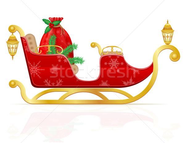 赤 クリスマス そり サンタクロース 贈り物 ベクトル ストックフォト © konturvid