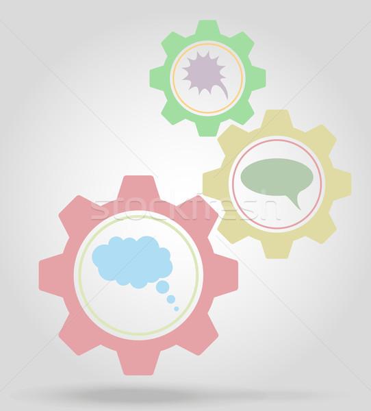 speech bubbles gear mechanism concept vector illustration Stock photo © konturvid