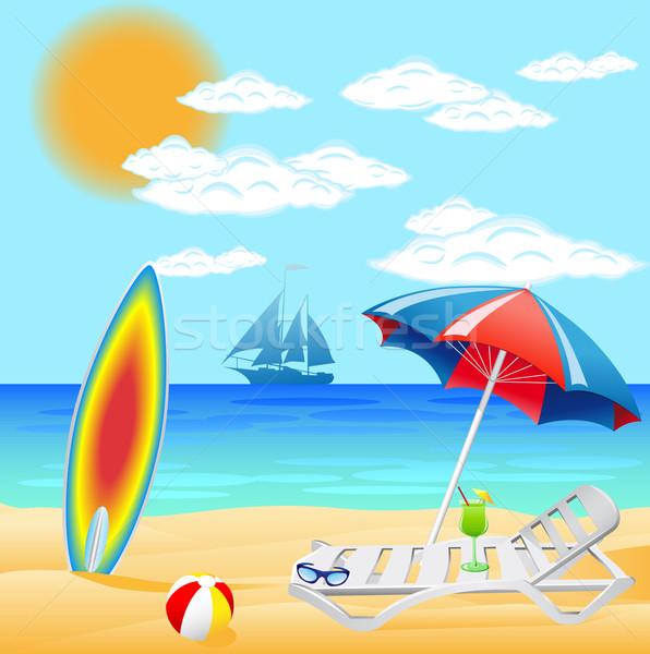 набор пляж морем иллюстрация солнце природы Сток-фото © konturvid