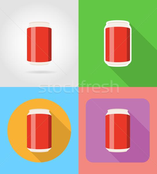 Fast food iconen schaduw vector geïsoleerd Stockfoto © konturvid