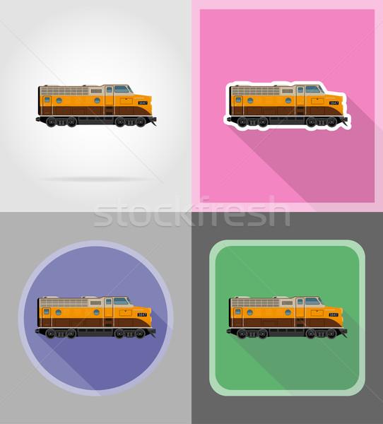 Chemin de fer locomotive train icônes isolé route Photo stock © konturvid