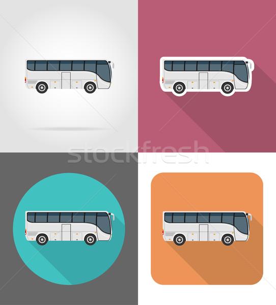 Nagy turné busz ikonok izolált utazás Stock fotó © konturvid