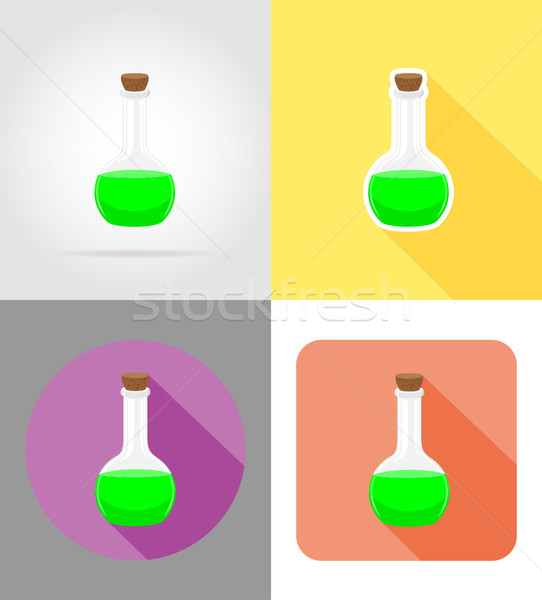 glass test tube flat icons vector illustration Stock photo © konturvid