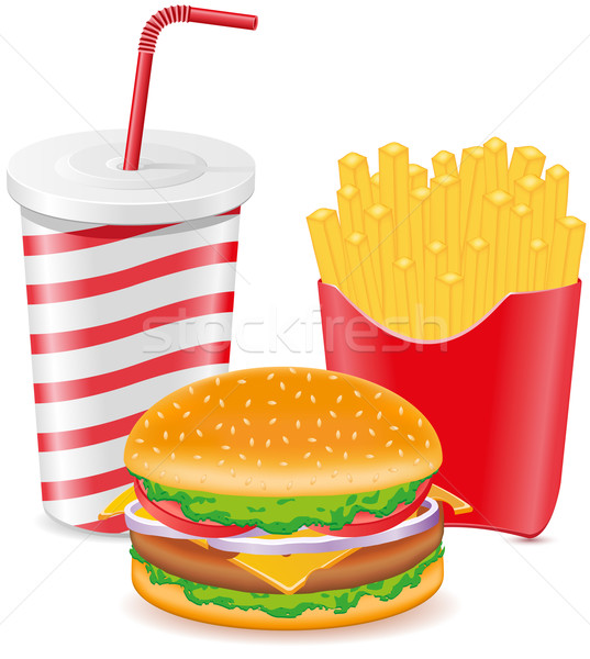cheeseburger fries potato and paper cup with soda Stock photo © konturvid