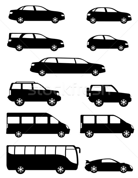 set icons passenger cars with different bodies black silhouette  Stock photo © konturvid