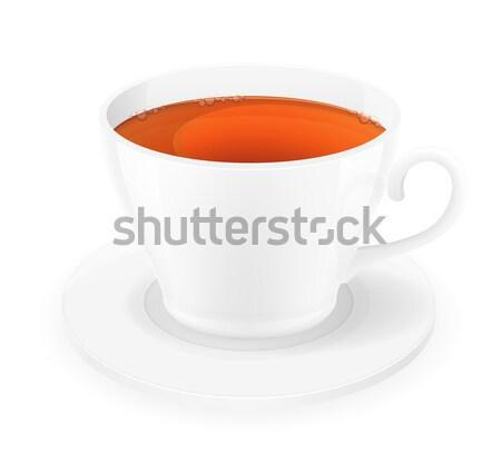 Porselein beker thee geïsoleerd witte koffie Stockfoto © konturvid
