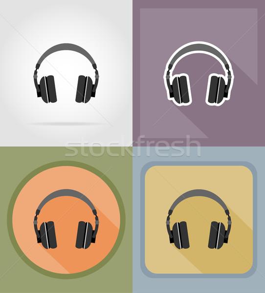 acoustic headphones flat icons vector illustration Stock photo © konturvid