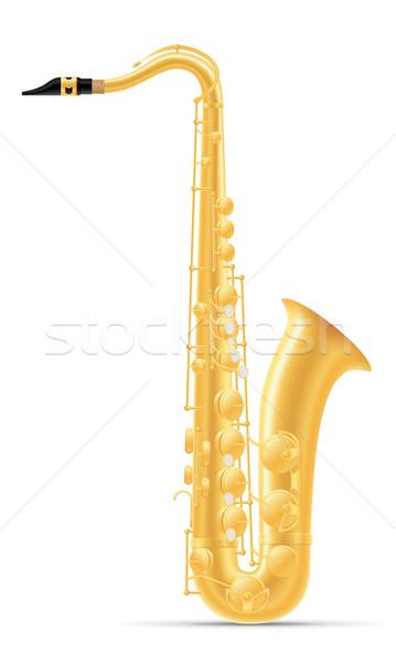 Szaxofon szél hangszerek stock izolált fehér Stock fotó © konturvid
