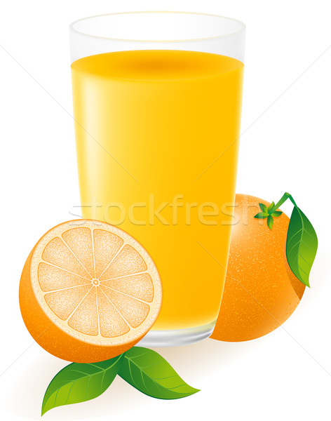 Photo stock: Jus · d'orange · isolé · blanche · eau · été · orange