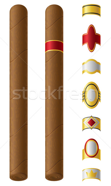 シガー ラベル 孤立した 白 火災 デザイン ストックフォト © konturvid